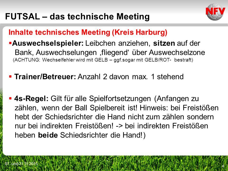 07. und 21.11.2015 4 FUTSAL – das technische Meeting Inhalte technisches Meeting (Kreis Harburg)  Auswechselspieler: Leibchen anziehen, sitzen auf de