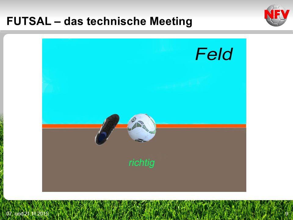 07. und 21.11.20159 FUTSAL – das technische Meeting
