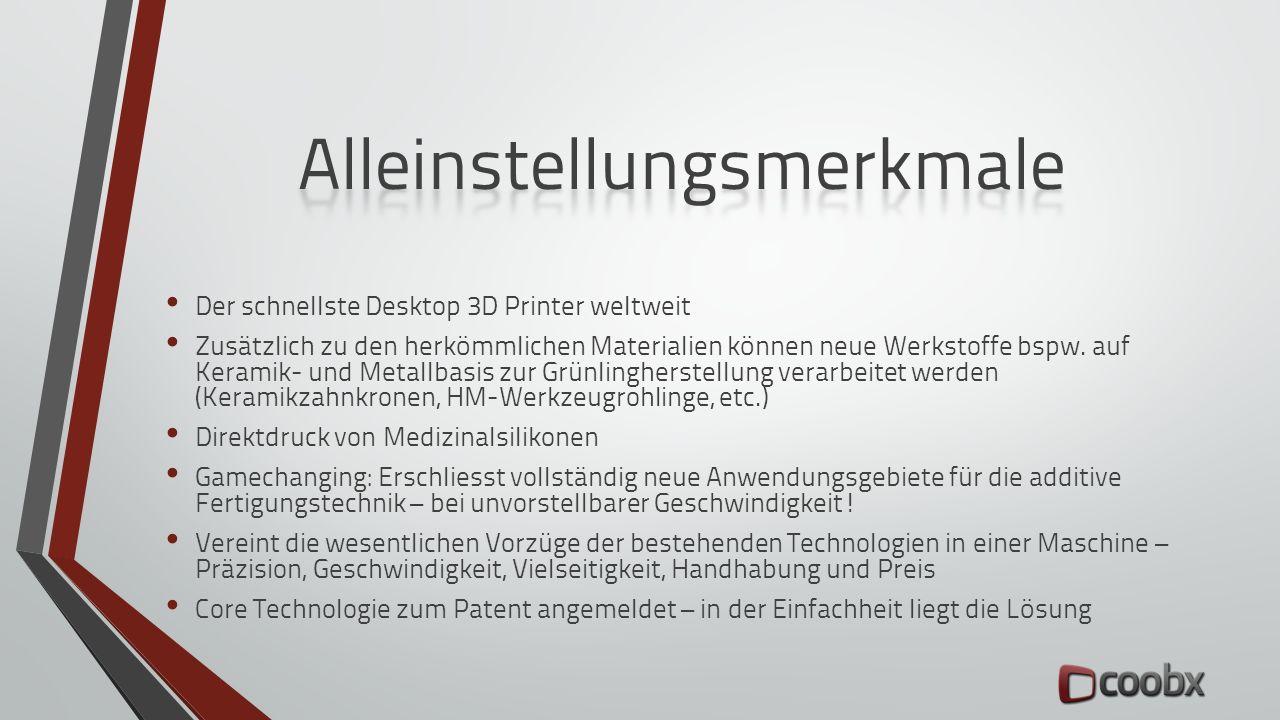 Der schnellste Desktop 3D Printer weltweit Zusätzlich zu den herkömmlichen Materialien können neue Werkstoffe bspw. auf Keramik- und Metallbasis zur G