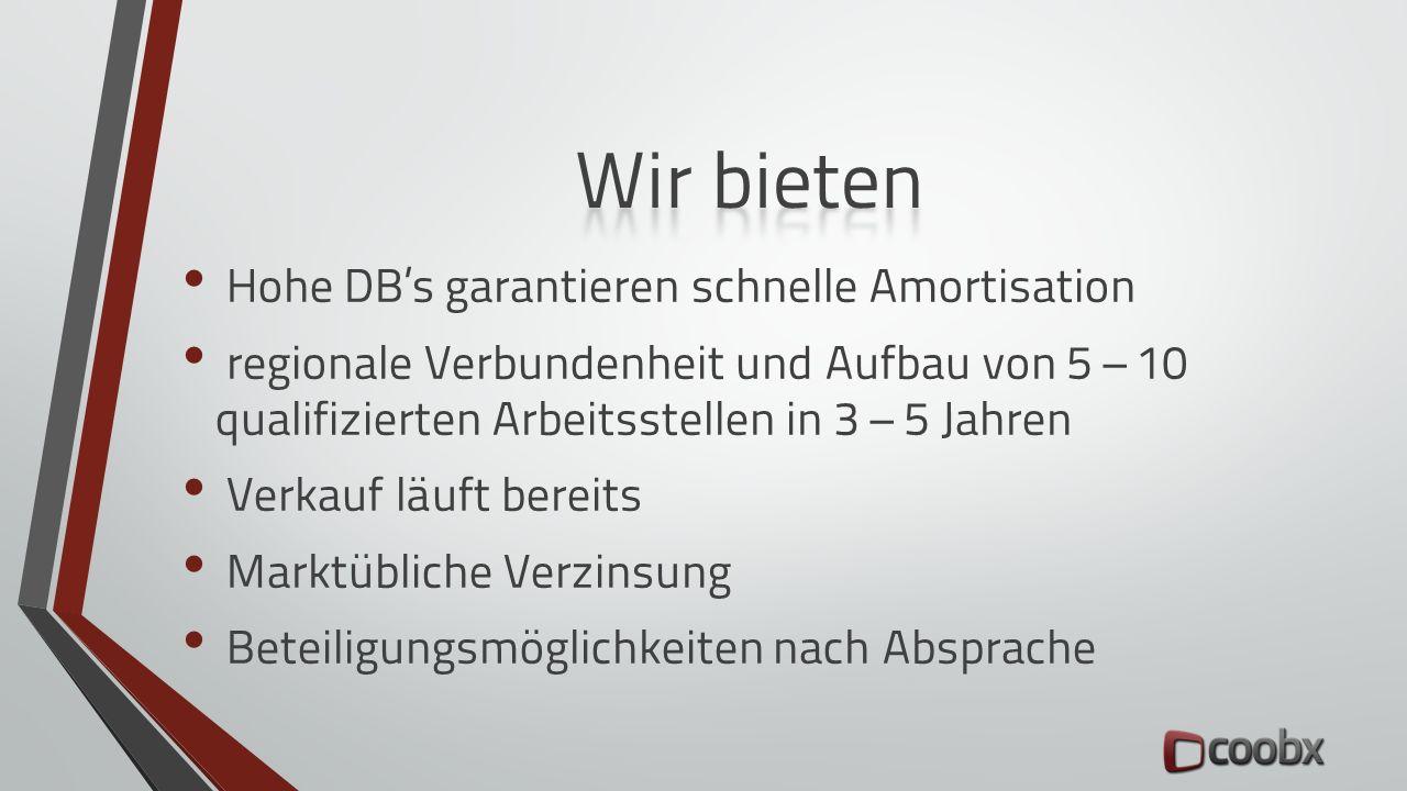 Hohe DB's garantieren schnelle Amortisation regionale Verbundenheit und Aufbau von 5 – 10 qualifizierten Arbeitsstellen in 3 – 5 Jahren Verkauf läuft