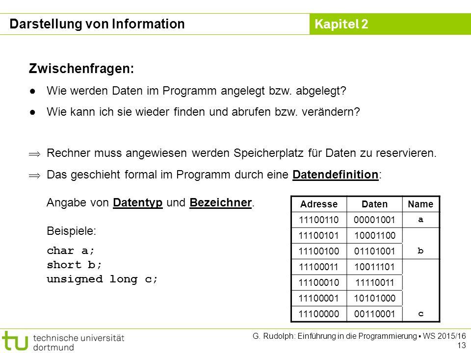 Kapitel 2 G. Rudolph: Einführung in die Programmierung ▪ WS 2015/16 13 Zwischenfragen: ●Wie werden Daten im Programm angelegt bzw. abgelegt? ●Wie kann