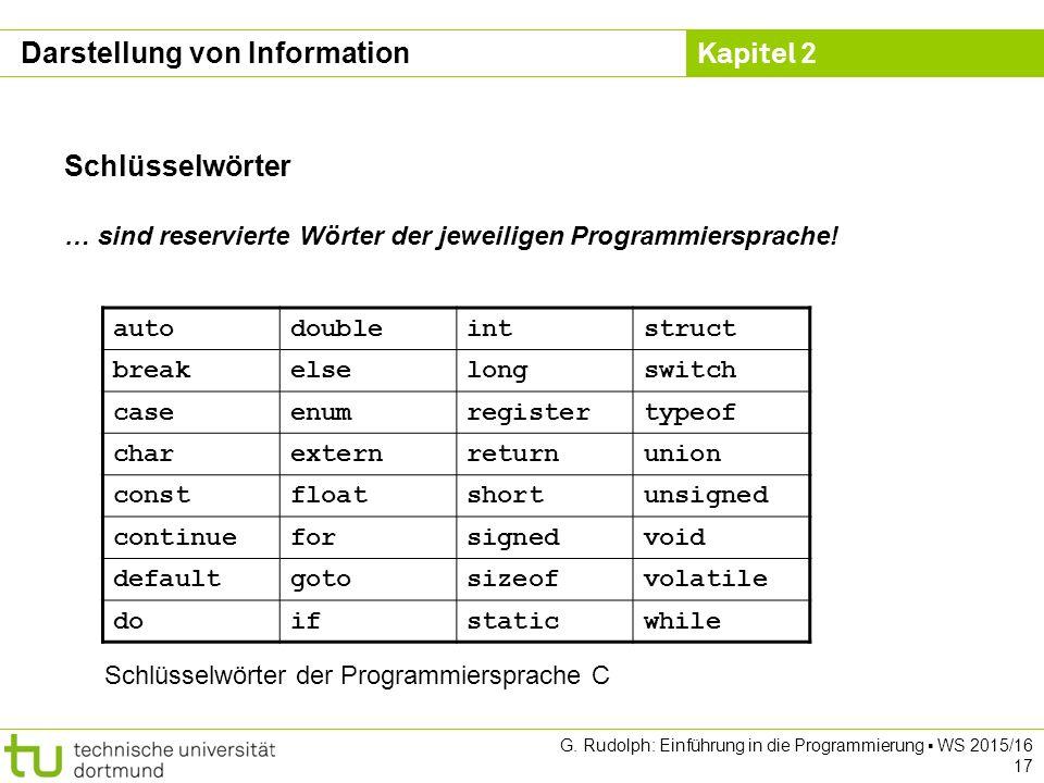 Kapitel 2 G. Rudolph: Einführung in die Programmierung ▪ WS 2015/16 17 Schlüsselwörter … sind reservierte Wörter der jeweiligen Programmiersprache! au