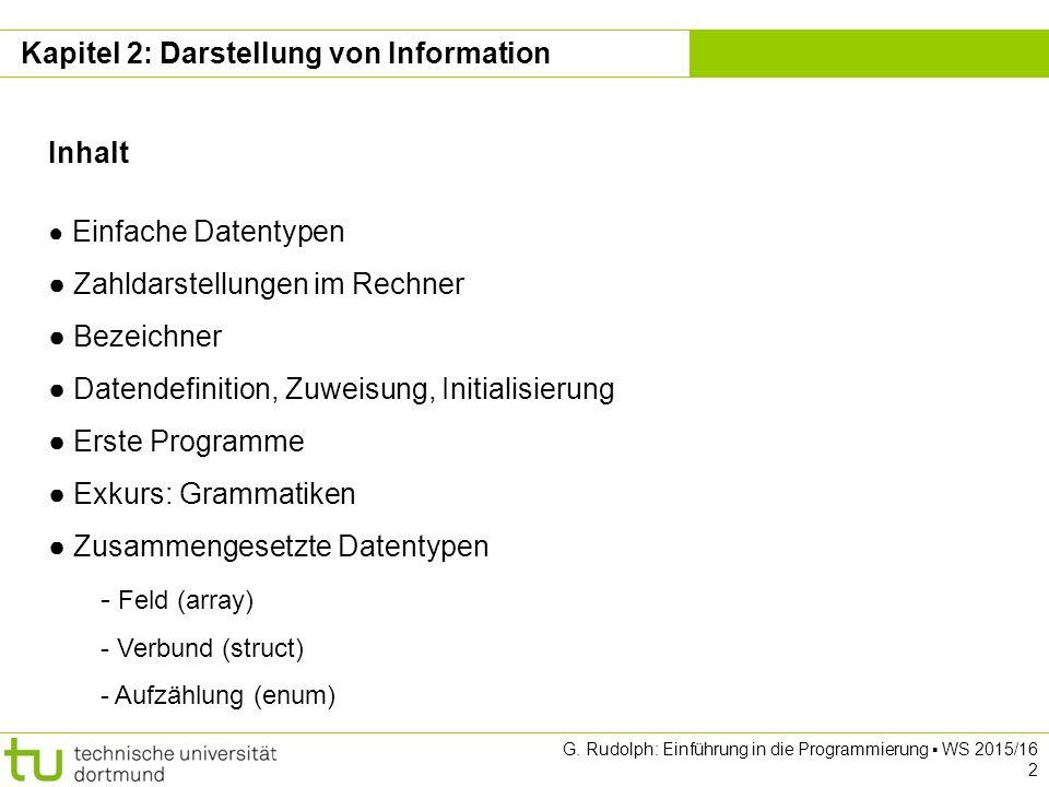 Kapitel 2 G. Rudolph: Einführung in die Programmierung ▪ WS 2015/16 2 Kapitel 2: Darstellung von Information Inhalt ● Einfache Datentypen ● Zahldarste