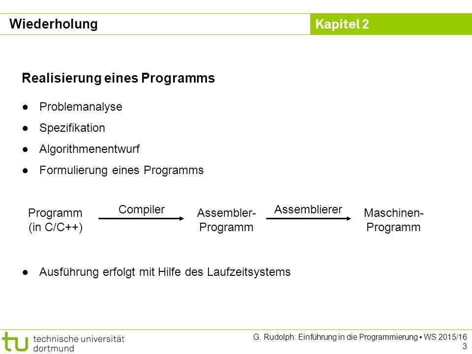 Kapitel 2 G. Rudolph: Einführung in die Programmierung ▪ WS 2015/16 3 Wiederholung Realisierung eines Programms ●Problemanalyse ●Spezifikation ●Algori
