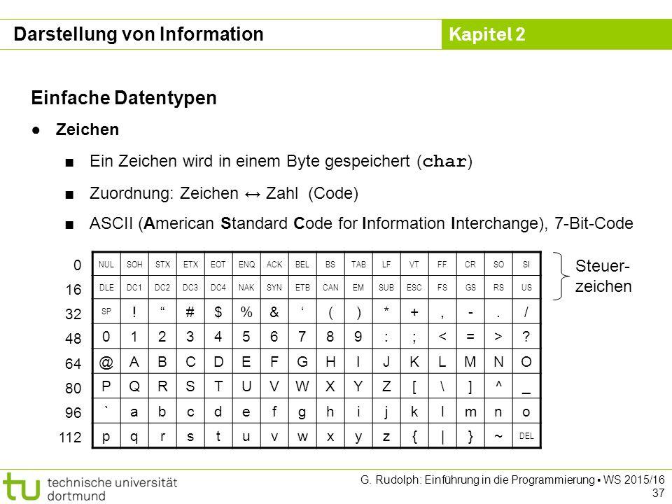 Kapitel 2 G. Rudolph: Einführung in die Programmierung ▪ WS 2015/16 37 Einfache Datentypen ●Zeichen ■Ein Zeichen wird in einem Byte gespeichert ( char