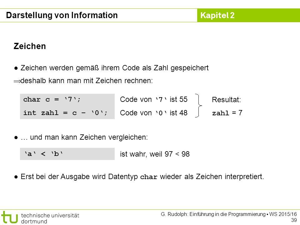 Kapitel 2 G. Rudolph: Einführung in die Programmierung ▪ WS 2015/16 39 Zeichen ● Zeichen werden gemäß ihrem Code als Zahl gespeichert  deshalb kann m