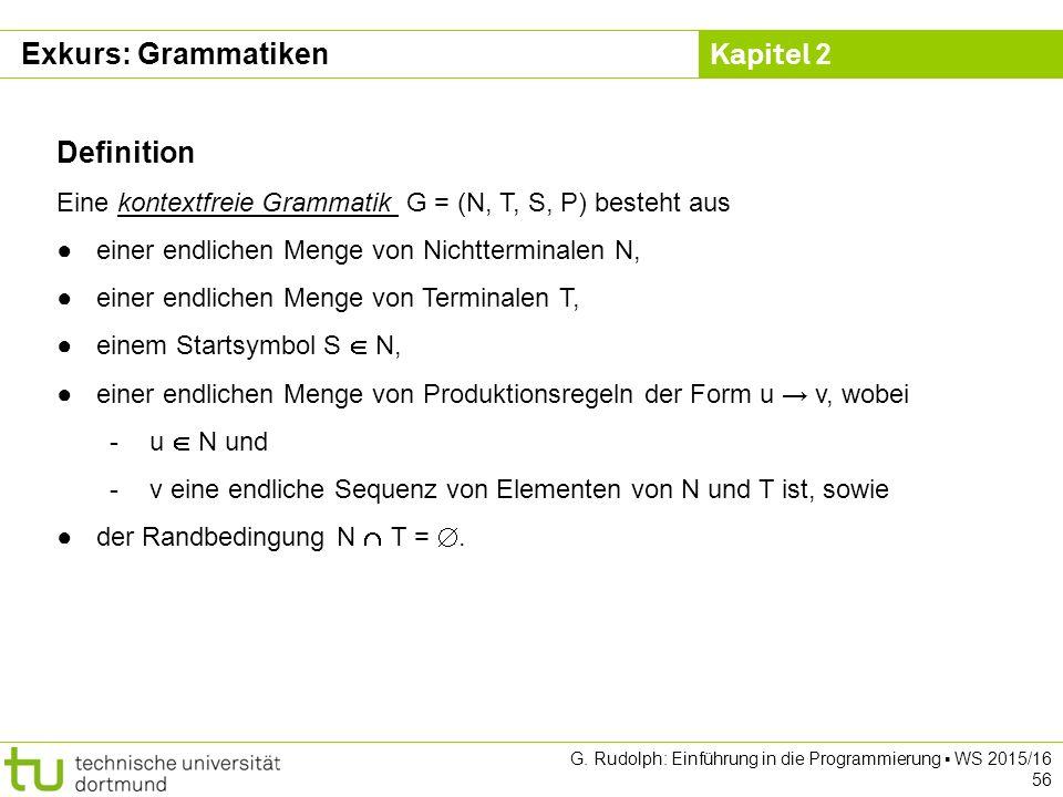 Kapitel 2 G. Rudolph: Einführung in die Programmierung ▪ WS 2015/16 56 Definition Eine kontextfreie Grammatik G = (N, T, S, P) besteht aus ●einer endl