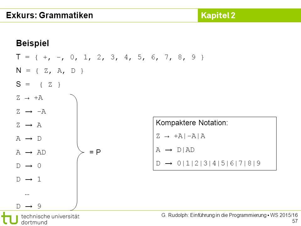 Kapitel 2 G. Rudolph: Einführung in die Programmierung ▪ WS 2015/16 57 Beispiel T = { +, -, 0, 1, 2, 3, 4, 5, 6, 7, 8, 9 } N = { Z, A, D } S = { Z } Z