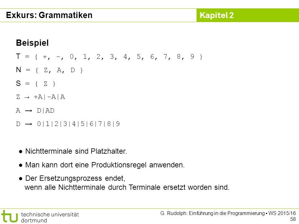 Kapitel 2 G. Rudolph: Einführung in die Programmierung ▪ WS 2015/16 58 Beispiel T = { +, -, 0, 1, 2, 3, 4, 5, 6, 7, 8, 9 } N = { Z, A, D } S = { Z } Z