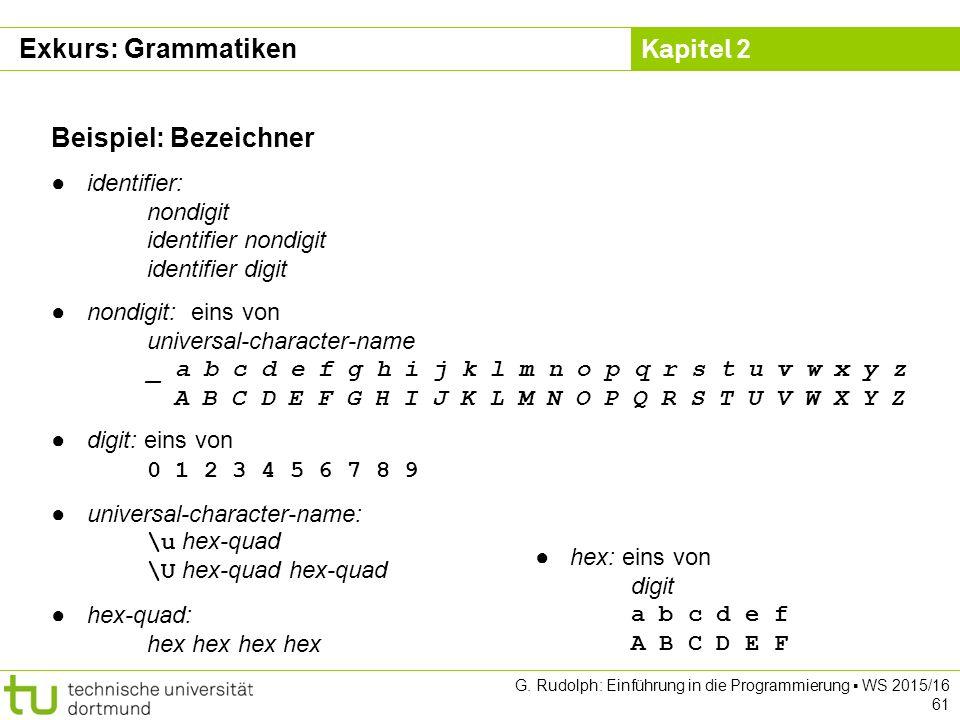 Kapitel 2 G. Rudolph: Einführung in die Programmierung ▪ WS 2015/16 61 Beispiel: Bezeichner ●identifier: nondigit identifier nondigit identifier digit