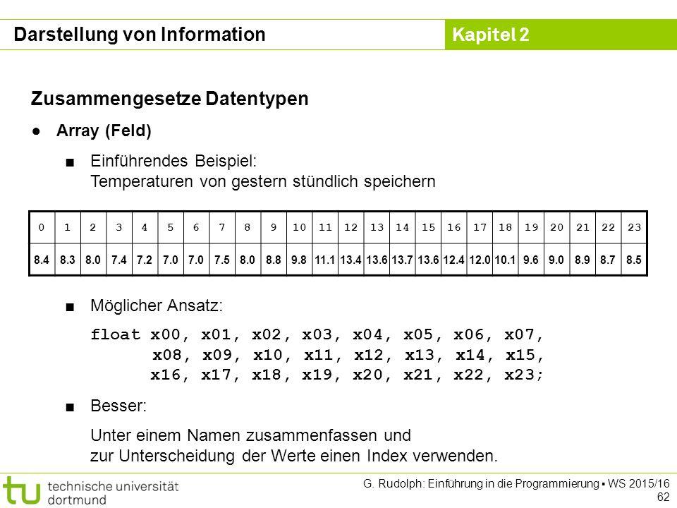 Kapitel 2 G. Rudolph: Einführung in die Programmierung ▪ WS 2015/16 62 Darstellung von Information Zusammengesetze Datentypen ●Array (Feld) ■Einführen