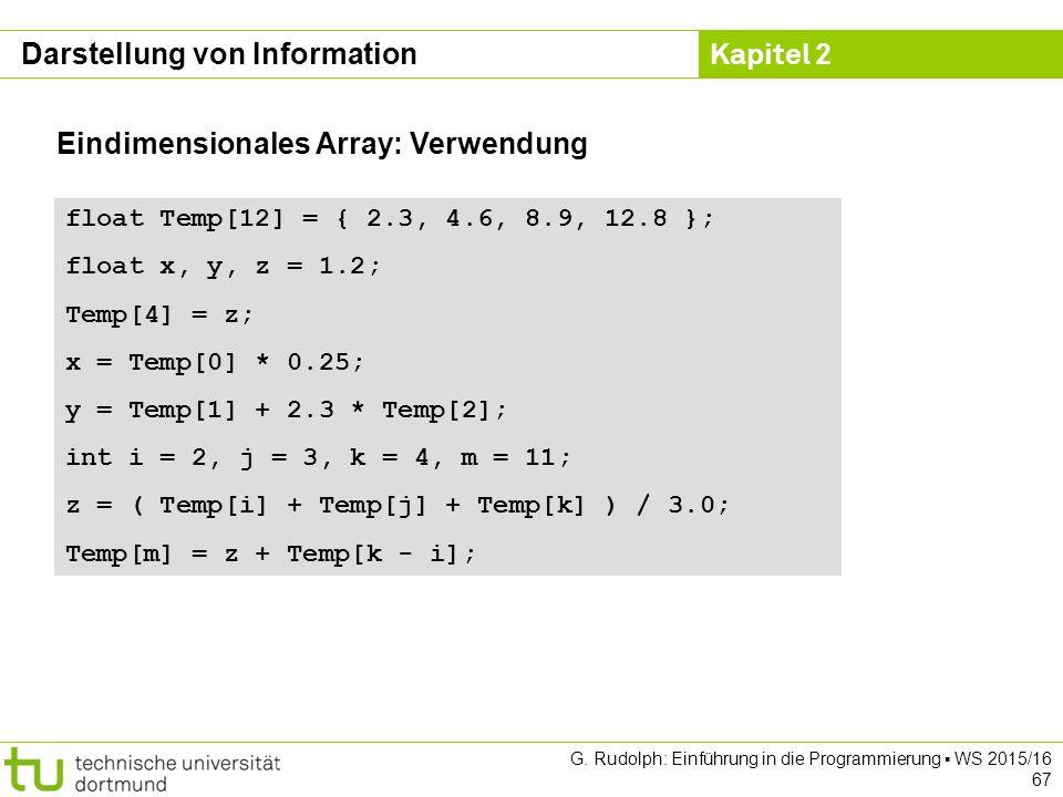 Kapitel 2 G. Rudolph: Einführung in die Programmierung ▪ WS 2015/16 67 Eindimensionales Array: Verwendung float Temp[12] = { 2.3, 4.6, 8.9, 12.8 }; fl