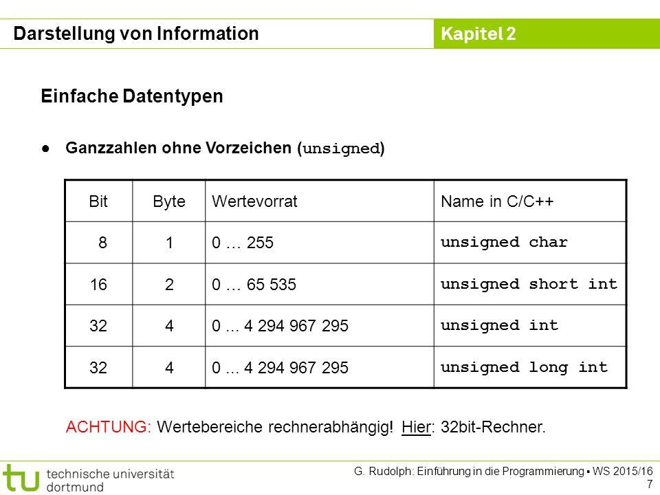 Kapitel 2 G. Rudolph: Einführung in die Programmierung ▪ WS 2015/16 7 Einfache Datentypen ●Ganzzahlen ohne Vorzeichen ( unsigned ) BitByteWertevorratN