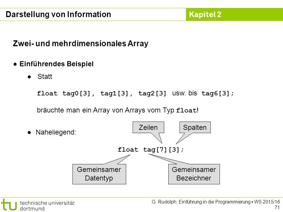 Kapitel 2 G. Rudolph: Einführung in die Programmierung ▪ WS 2015/16 71 Zwei- und mehrdimensionales Array ● Einführendes Beispiel ● Statt float tag0[3]
