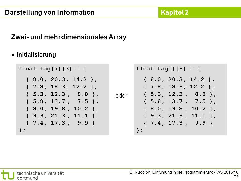 Kapitel 2 G. Rudolph: Einführung in die Programmierung ▪ WS 2015/16 73 Zwei- und mehrdimensionales Array ● Initialisierung float tag[7][3] = { { 8.0,