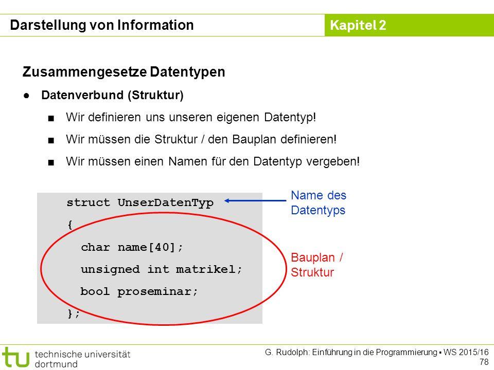 Kapitel 2 G. Rudolph: Einführung in die Programmierung ▪ WS 2015/16 78 Zusammengesetze Datentypen ●Datenverbund (Struktur) ■Wir definieren uns unseren