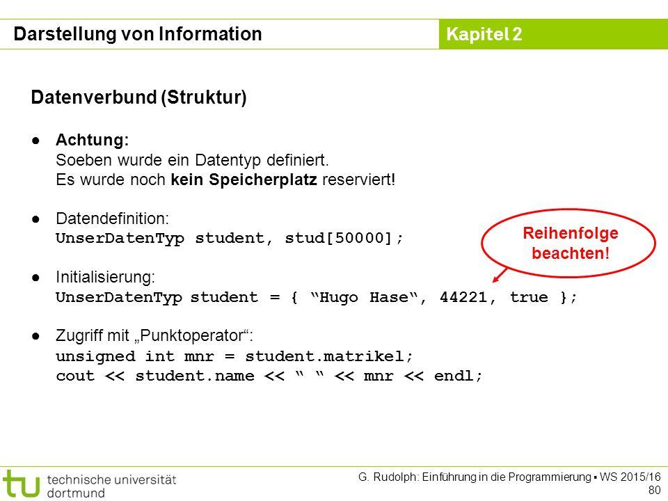 Kapitel 2 G. Rudolph: Einführung in die Programmierung ▪ WS 2015/16 80 Datenverbund (Struktur) ●Achtung: Soeben wurde ein Datentyp definiert. Es wurde