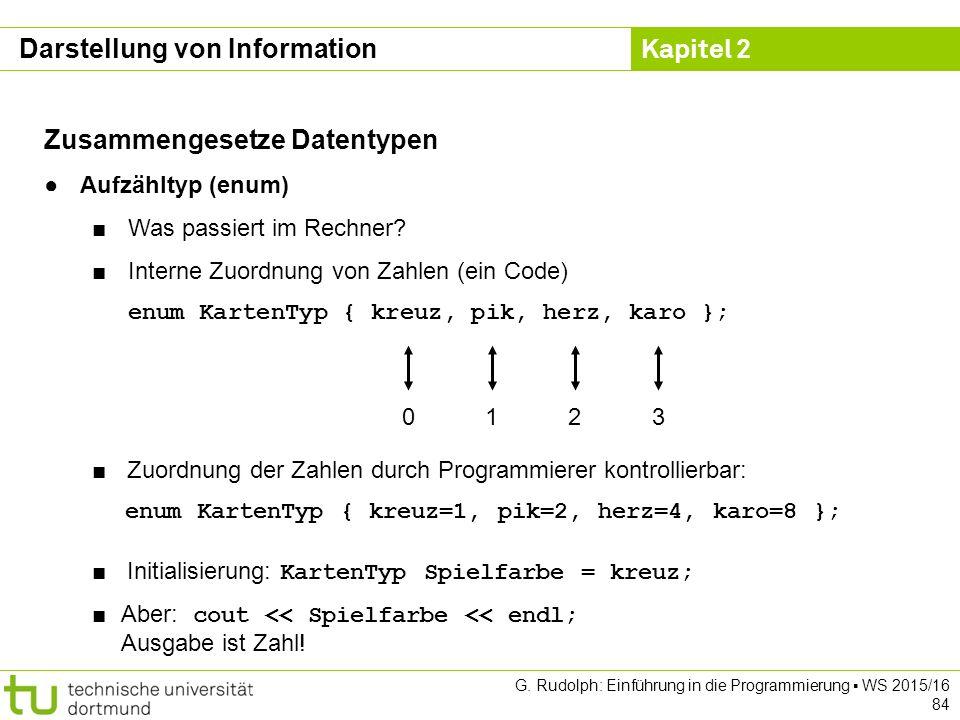 Kapitel 2 G. Rudolph: Einführung in die Programmierung ▪ WS 2015/16 84 Zusammengesetze Datentypen ●Aufzähltyp (enum) ■Was passiert im Rechner? ■Intern