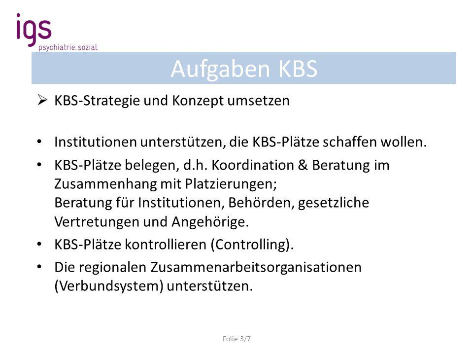 Aufgaben KBS  KBS-Strategie und Konzept umsetzen Institutionen unterstützen, die KBS-Plätze schaffen wollen.