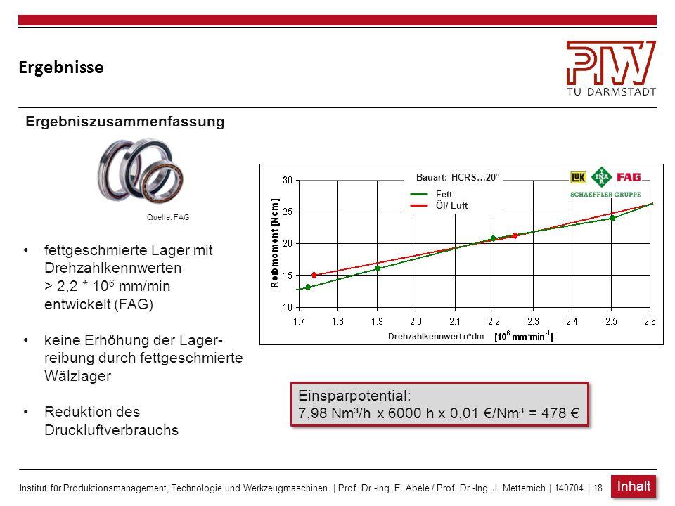 Institut für Produktionsmanagement, Technologie und Werkzeugmaschinen | Prof. Dr.-Ing. E. Abele / Prof. Dr.-Ing. J. Metternich | 140704 | 18 Ergebniss