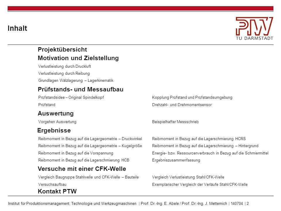 Institut für Produktionsmanagement, Technologie und Werkzeugmaschinen | Prof. Dr.-Ing. E. Abele / Prof. Dr.-Ing. J. Metternich | 140704 | 2 Inhalt Mot