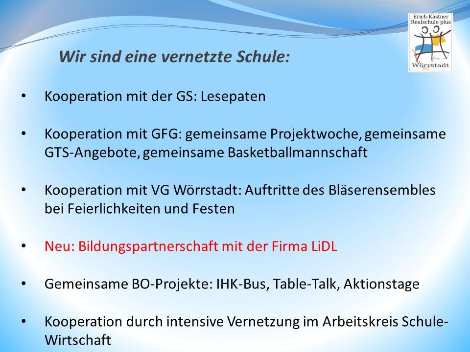 Kooperation mit der GS: Lesepaten Kooperation mit GFG: gemeinsame Projektwoche, gemeinsame GTS-Angebote, gemeinsame Basketballmannschaft Kooperation m