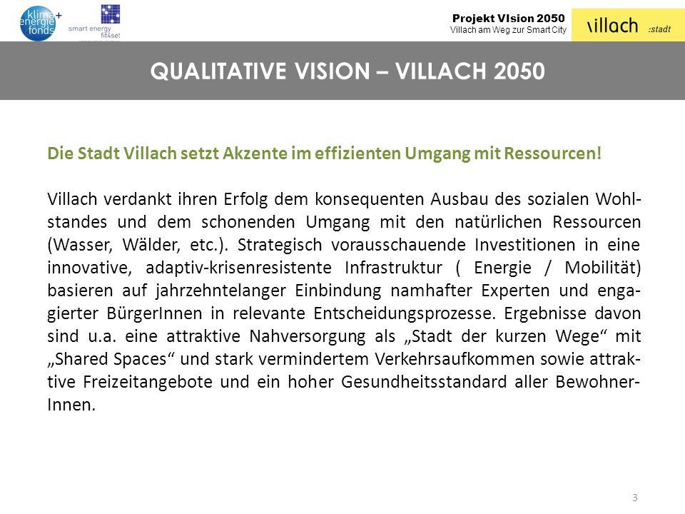 Projekt VIsion 2050 Villach am Weg zur Smart City 3 QUALITATIVE VISION – VILLACH 2050 Die Stadt Villach setzt Akzente im effizienten Umgang mit Ressou