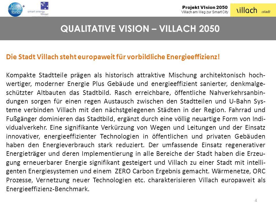Projekt VIsion 2050 Villach am Weg zur Smart City 4 QUALITATIVE VISION – VILLACH 2050 Die Stadt Villach steht europaweit für vorbildliche Energieeffiz