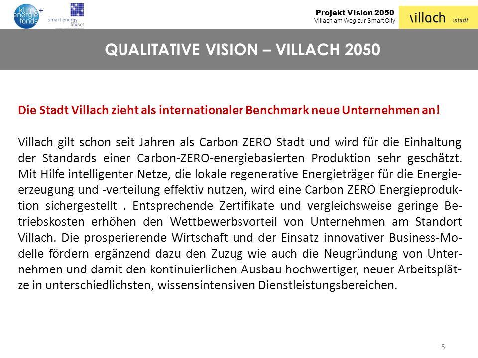 Projekt VIsion 2050 Villach am Weg zur Smart City 5 QUALITATIVE VISION – VILLACH 2050 Die Stadt Villach zieht als internationaler Benchmark neue Unter
