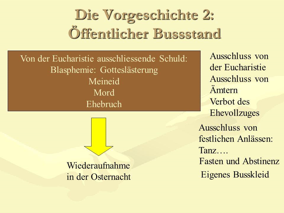 Die Vorgeschichte 2: Öffentlicher Bussstand Von der Eucharistie ausschliessende Schuld: Blasphemie: Gotteslästerung Meineid Mord Ehebruch Wiederaufnah