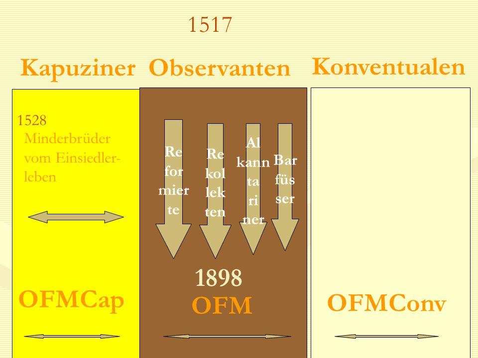 Observanten Konventualen 1528 Kapuziner Minderbrüder vom Einsiedler- leben Re for mier te Re kol lek ten Al kann ta ri ner Bar füs ser 1898 OFM OFMCon