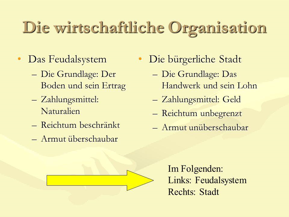 Die wirtschaftliche Organisation Das FeudalsystemDas Feudalsystem –Die Grundlage: Der Boden und sein Ertrag –Zahlungsmittel: Naturalien –Reichtum besc