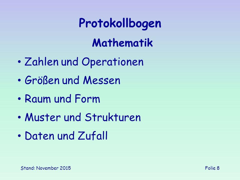 Stand: November 2015Folie 8 Protokollbogen Mathematik Größen und Messen Zahlen und Operationen Muster und Strukturen Daten und Zufall Raum und Form