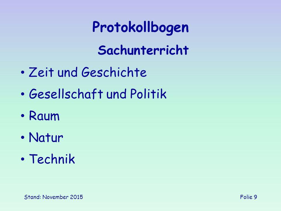 Stand: November 2015Folie 9 Protokollbogen Sachunterricht Gesellschaft und Politik Zeit und Geschichte Natur Technik Raum
