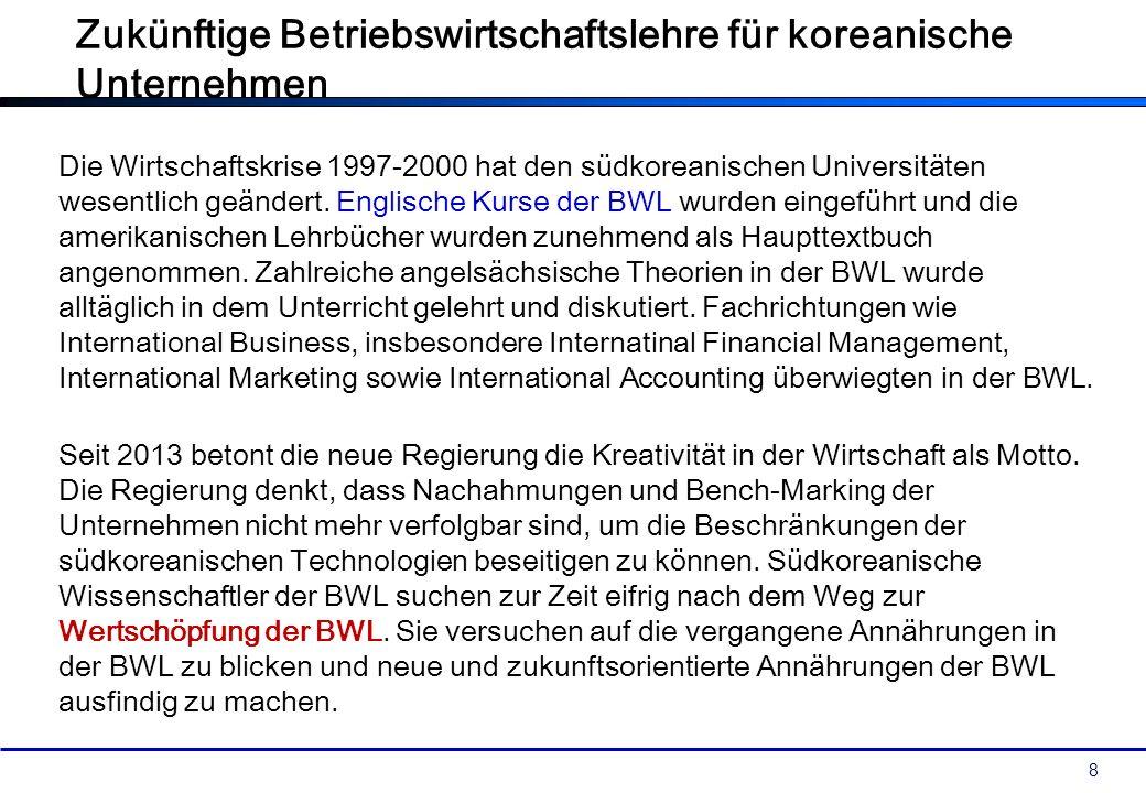 8 Die Wirtschaftskrise 1997-2000 hat den südkoreanischen Universitäten wesentlich geändert. Englische Kurse der BWL wurden eingeführt und die amerikan