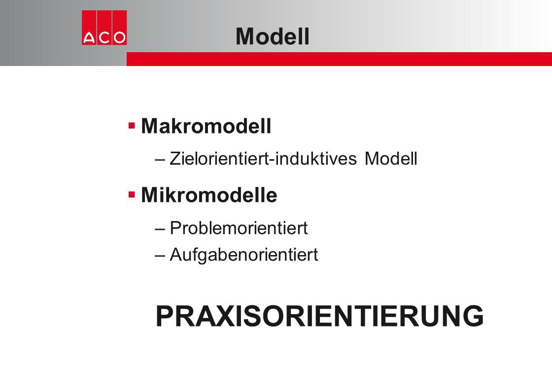 Modell  Makromodell –Zielorientiert-induktives Modell  Mikromodelle –Problemorientiert –Aufgabenorientiert PRAXISORIENTIERUNG