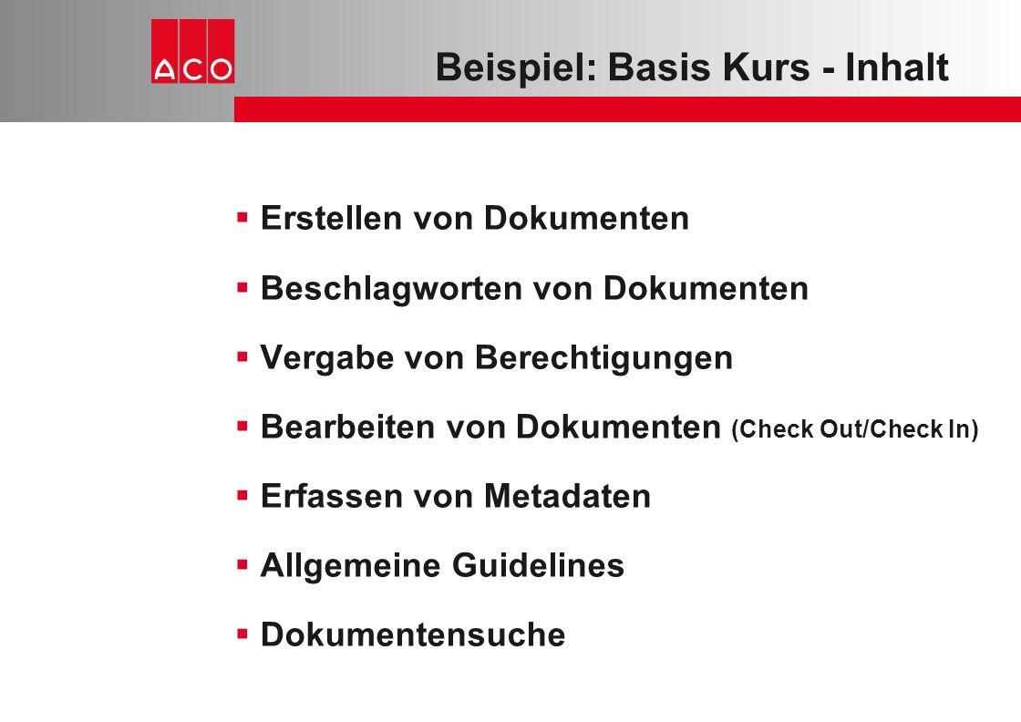 Beispiel: Basis Kurs - Inhalt  Erstellen von Dokumenten  Beschlagworten von Dokumenten  Vergabe von Berechtigungen  Bearbeiten von Dokumenten (Che