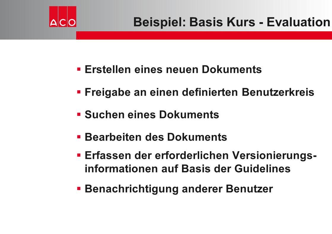 Beispiel: Basis Kurs - Evaluation  Erstellen eines neuen Dokuments  Freigabe an einen definierten Benutzerkreis  Suchen eines Dokuments  Bearbeite