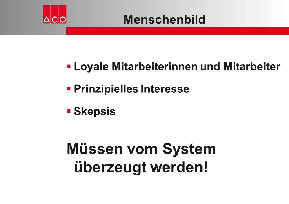 Menschenbild  Loyale Mitarbeiterinnen und Mitarbeiter  Prinzipielles Interesse  Skepsis Müssen vom System überzeugt werden!