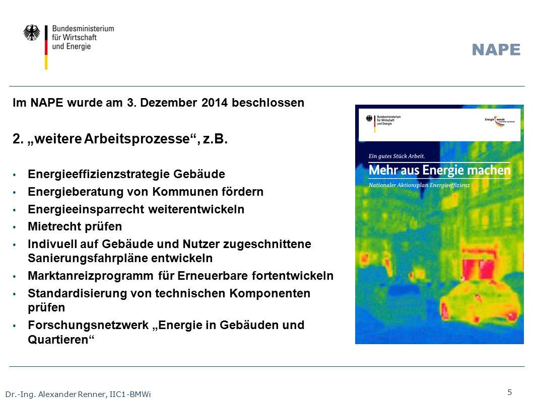 """5 Dr.-Ing. Alexander Renner, IIC1-BMWi NAPE Im NAPE wurde am 3. Dezember 2014 beschlossen 2. """"weitere Arbeitsprozesse"""", z.B. Energieeffizienzstrategie"""