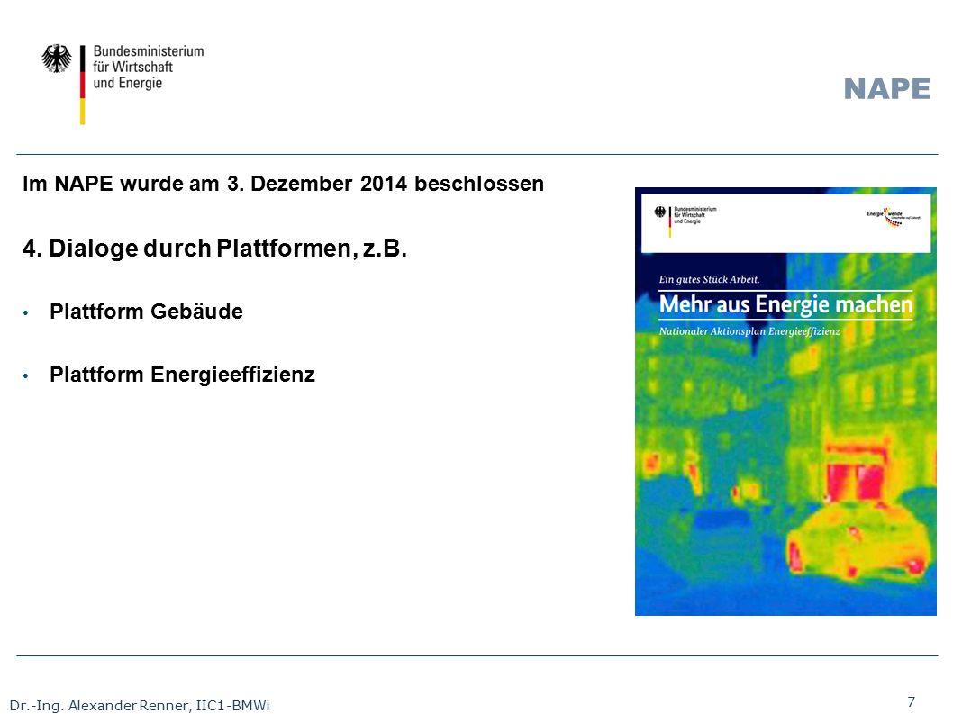 7 Dr.-Ing. Alexander Renner, IIC1-BMWi NAPE Im NAPE wurde am 3. Dezember 2014 beschlossen 4. Dialoge durch Plattformen, z.B. Plattform Gebäude Plattfo