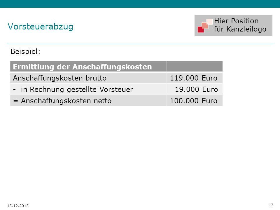 Hier Position für Kanzleilogo Vorsteuerabzug Beispiel: 13 15.12.2015 Ermittlung der Anschaffungskosten Anschaffungskosten brutto119.000 Euro - in Rech