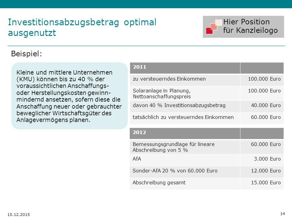 Hier Position für Kanzleilogo Beispiel: 14 15.12.2015 2011 zu versteuerndes Einkommen100.000 Euro Solaranlage in Planung, Nettoanschaffungspreis 100.0