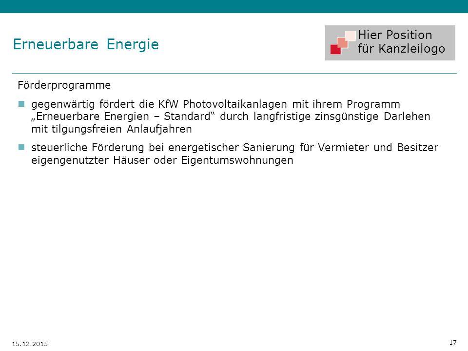 """Hier Position für Kanzleilogo Förderprogramme gegenwärtig fördert die KfW Photovoltaikanlagen mit ihrem Programm """"Erneuerbare Energien – Standard"""" dur"""