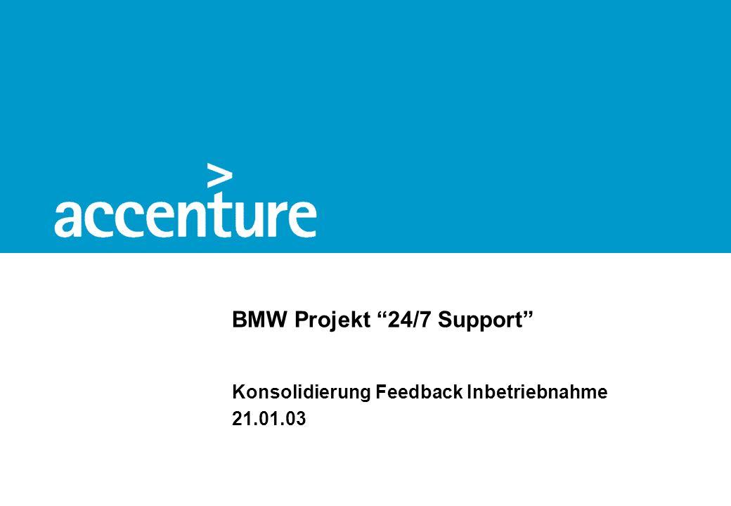 BMW Projekt 24/7 Support Konsolidierung Feedback Inbetriebnahme 21.01.03