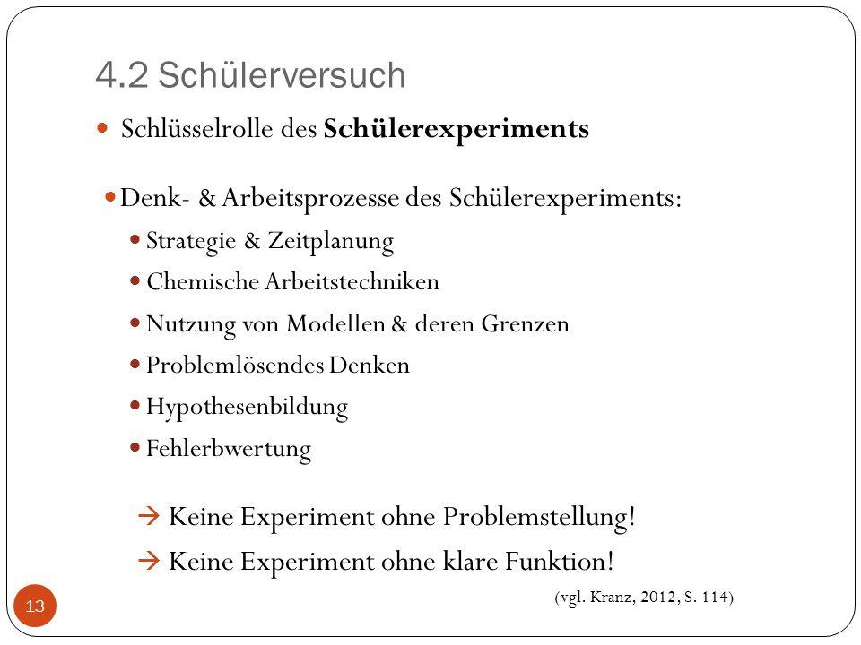 4.2 Schülerversuch Schlüsselrolle des Schülerexperiments Denk- & Arbeitsprozesse des Schülerexperiments: Strategie & Zeitplanung Chemische Arbeitstech