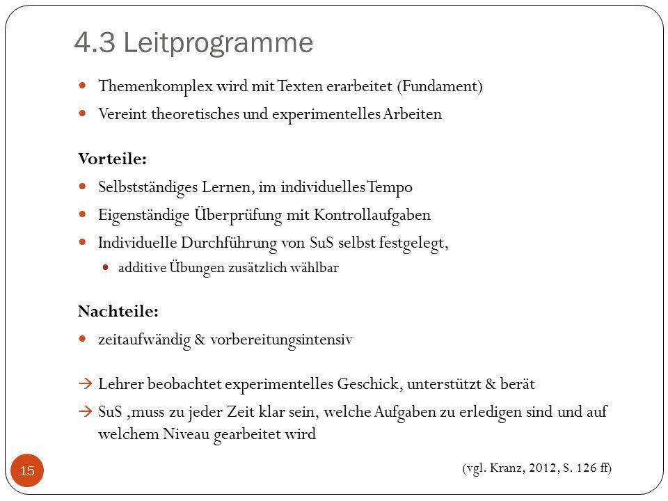 4.3 Leitprogramme Themenkomplex wird mit Texten erarbeitet (Fundament) Vereint theoretisches und experimentelles Arbeiten Vorteile: Selbstständiges Le