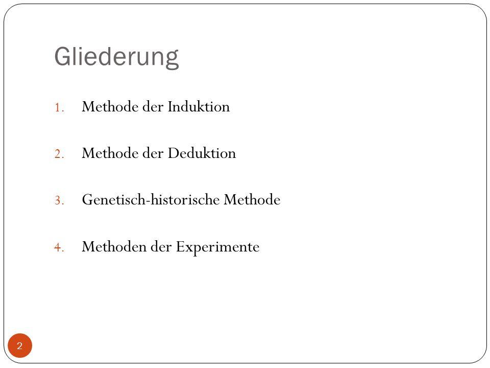 Gliederung 1. Methode der Induktion 2. Methode der Deduktion 3. Genetisch-historische Methode 4. Methoden der Experimente 2