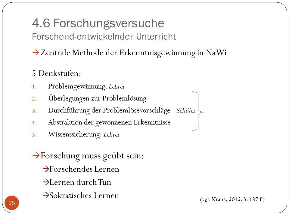 4.6 Forschungsversuche Forschend-entwickelnder Unterricht  Zentrale Methode der Erkenntnisgewinnung in NaWi 5 Denkstufen: 1. Problemgewinnung: Lehrer