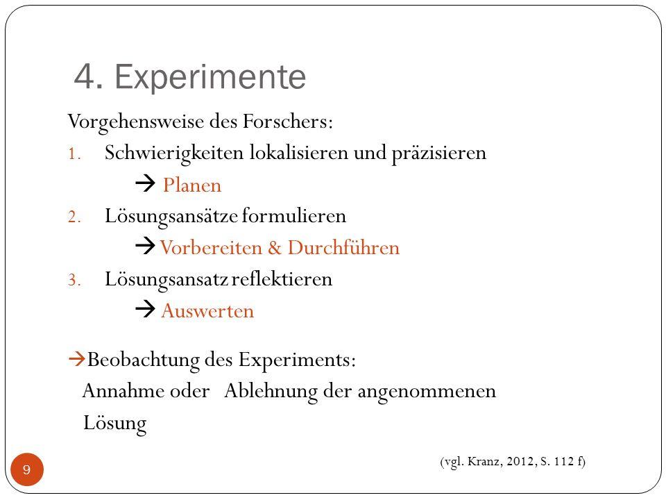 4. Experimente Vorgehensweise des Forschers: 1. Schwierigkeiten lokalisieren und präzisieren  Planen 2. Lösungsansätze formulieren  Vorbereiten & Du
